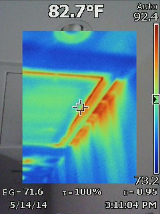 Infrared Image of a leaky attic entrance