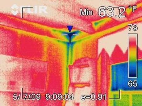 Infrared Camera Image of Corner in Room