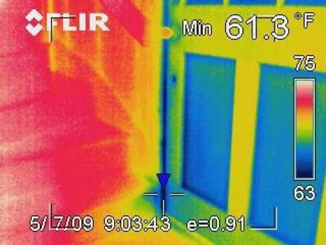 Infrared Camera Image of Air Leak from Door