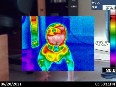 Infrared Camera Image of Baby Crawling
