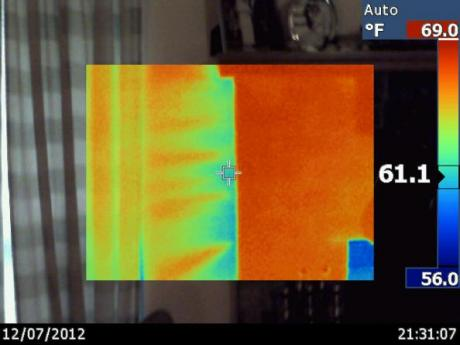 Infrared Camera Image of Air Leak in Wall