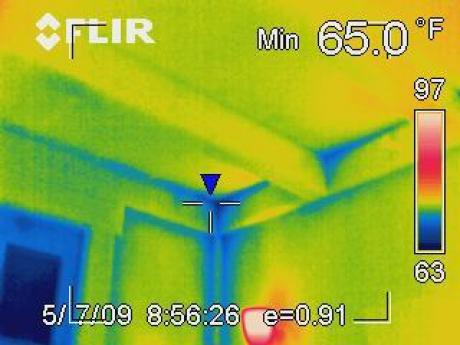 Infrared Camera Image of Air Leak in Ceiling